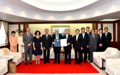El Embajador y el titular del Sistema Federal de Medios y Contenidos Públicos de la Argentina (SFMCP) visitaron el Centro Cultural Min-On. Se otorga el «Premio Min-On del Máximo Honor»